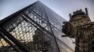 The glass pyramid at the Louvre Museum