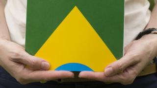 Mulher segura cópia da Constituição, com bandeira do Brasil na capa