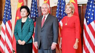 """A handout photo made available by the United States Department of State (DOS) shows US Secretary of State Rex Tillerson (C) posing for a photo with Chinese Vice Premier Liu Yandong (L) and US Secretary of Education Betsy DeVos before hosting a working breakfast for """"Chinese Vice Premier Liu Yandong for the US - China Social and Cultural Dialogue"""" at the US Department of State in Washington, DC, USA, 28 September 2017"""