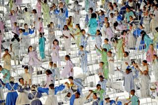 Performers pay tribute to the National Health Service during the Opening Ceremony of the London 2012 Olympic Games
