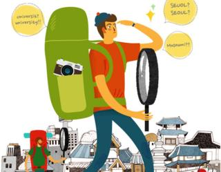 A promotional cartoon of a tourist with a giant magnifying glass spotting English errors