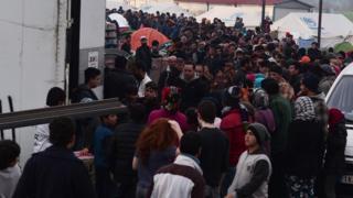 Migrants on the Greece-Macedonia border