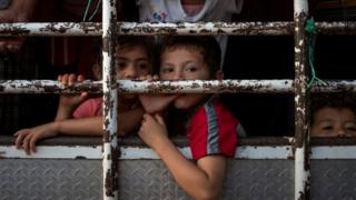 Honduran children from a caravan of Central American migrants in Mexico. Photo: 26 October 2018