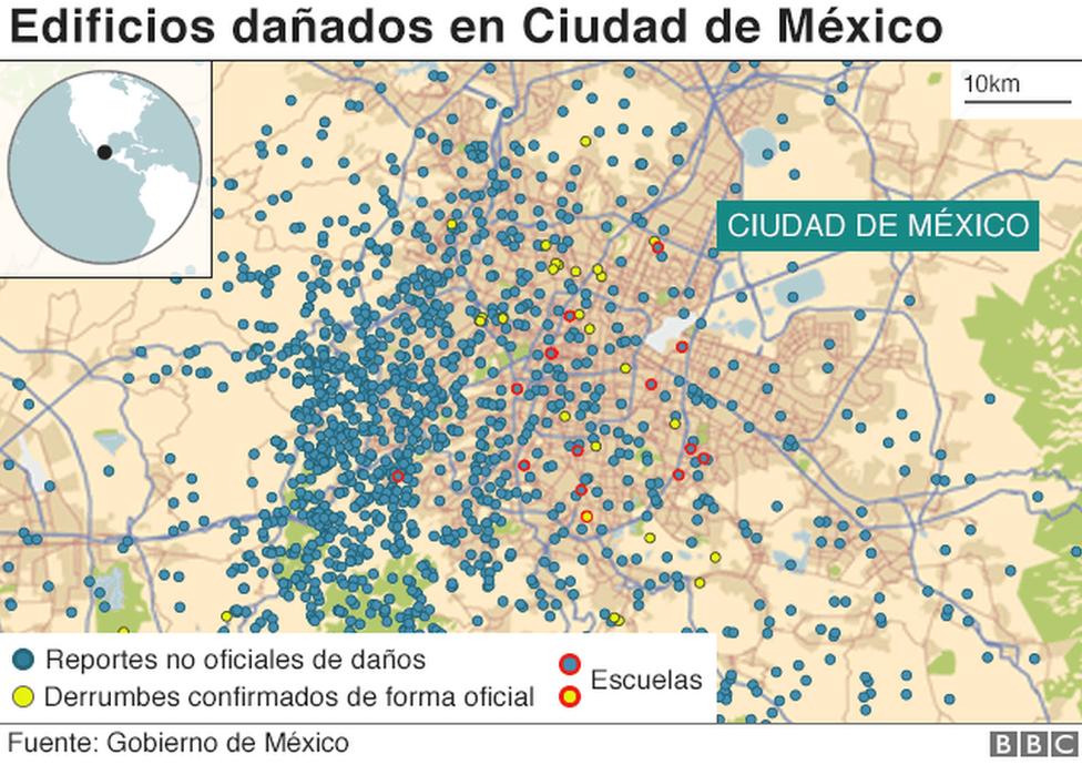 Mapa de edificios dañados