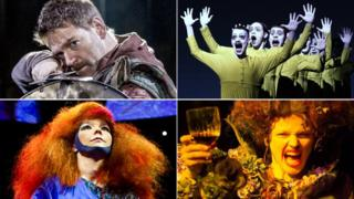 Clockwise from top left: Sir Kenneth Branagh in Macbeth, The Life and Death of Marina Abramovic, Maxine Peake in The Skriker, Bjork