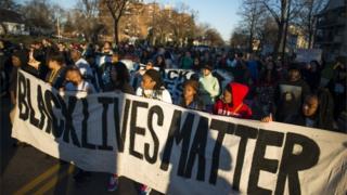 Black Lives Matter protestors in Minneapolis on 15 November 2015