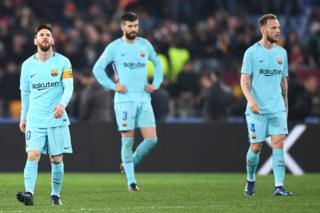 Messi, Piqué y Rakitic.