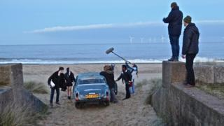 Filming off the Norfolk coast