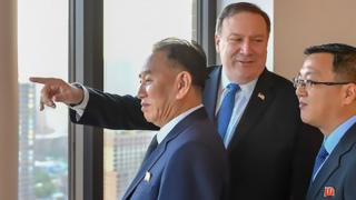 handout photograph from US Department of State shows Kim Yong-chol (L), vice chairman of North Korea, during his meeting with US Secretary of State Mike Pompeo (C) on May 30, 2018 in New York