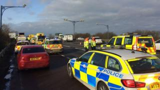 Police operation on A14