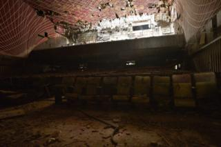 The gutted interior of Delhi's Uphaar cinema after a fire destroyed it in 1997.