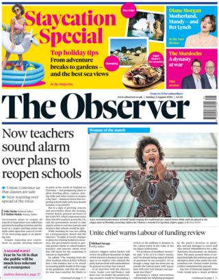 The Observer front page 2 August