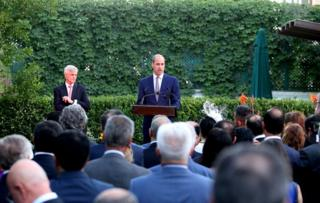 The Duke of Cambridge gives a speech at the residence of the British ambassador Edward Oakden