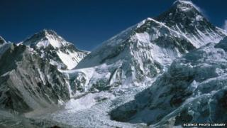 Mount Everest with the Khumbu Icefall in the foreground