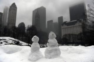 Snowmen in New York City