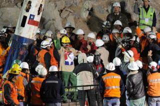 hollywood Chilean miner Juan Illanes celebrates after coming out of the Phoenix capsule, which brought him to the surface on 13 October 2010