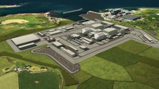 Artist impression of how the Wylfa Newydd power station would look