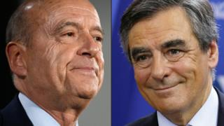 French conservative rivals Alain Juppe (L) and Francois Fillon