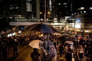 Người biểu tình Hong Kong chống chính phủ tập trung trên đường trước Tòa nhà Hội đồng Lập pháp hôm 18/8/2019