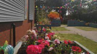 Garden with colourful plants and decor