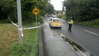 Officers have cordoned off a section of the road where the attack took place