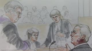 A court drawing of Gordon Anglesea