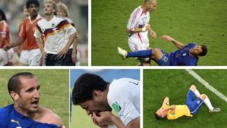Rudi Voller y Fank Rijkaard, Zinedine Zidane conecta con Marco Materazzi, Giorgio Chiellini reaccciona al mordisco de Luis Suárez, Brasil tras la humillación frente a Alemania.