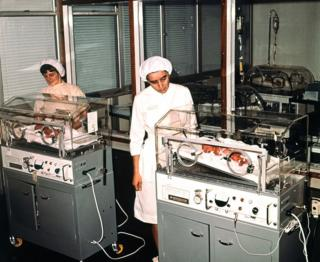 The five surviving babies of sextuplets born to Sheila Thorns are seen in incubators at Birmingham maternity hospital