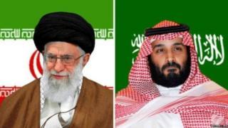 इराणचे अध्यक्ष आयतुल्ला खोमेनी आणि सौदी अरबचे राजपुत्र मोहम्मद बिन सलमान