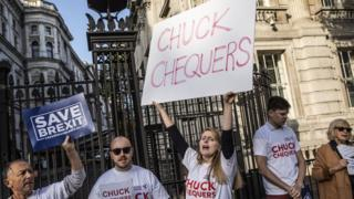 Protestors against the Chequers Brexit deal outside the cabinet meeting