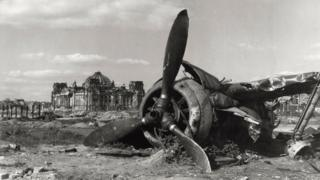 A plane shot down near the Reichstag in Berlin 1945