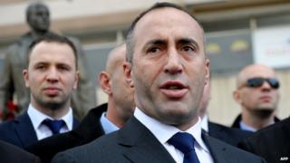 Kosovo former Prime Minister Ramush Haradinaj in Pristina on 30 November 2012.