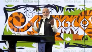 "India""s Prime Minister Narendra Modi speaks about India""s digital initiatives at the Google campus in Mountain View, California September 27, 2015."