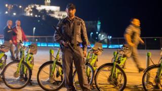 Israeli policeman at scene of Jaffa attacks on 8 March 2016