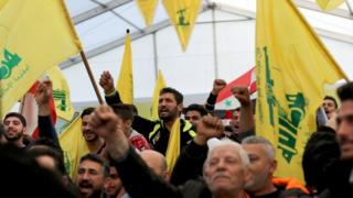 Supporters of Lebanon's militant Shia movement Hezbollah