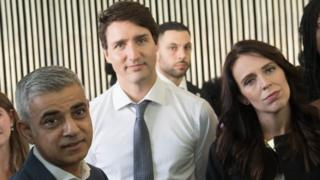 Sadiq Khan, Justin Trudeau and Jacinda Ardern