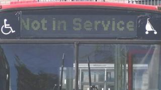 GHA Coaches bus sits idle with 'Not in service' sign showing