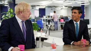 Rishi Sunak and Boris Johnson on a visit to Octopus Energy