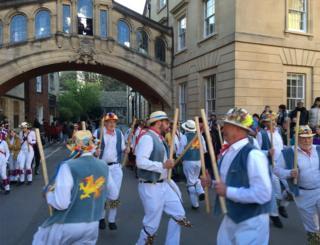 Morris Dancers under the Hertford Bridge in Oxford