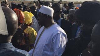 Adama Barrow arrives back in Banjul. (Image from President Barrow's Twitter feed)