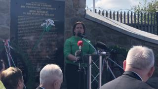 Mary Lou McDonald speaking at the Easter Rising commemoration in west Belfast