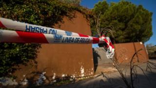 Cordón de la policía frente a la embajada de Corea del Norte en Madrid