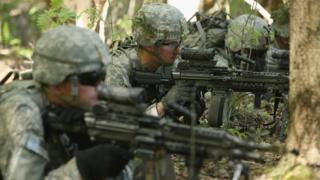 Members of the US 173rd Airborne Brigade participate in Nato exercise in Estonia. May 2014
