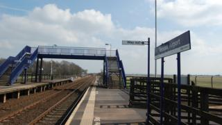 Teesside Airport train station serving Durham Tees Valley Airport