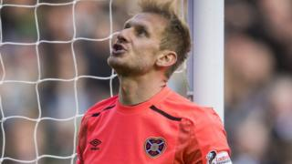 Hearts goalkeeper Zdenek Zlamal shows his disappointment