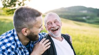 A younger man and his elderly father (stock picture)
