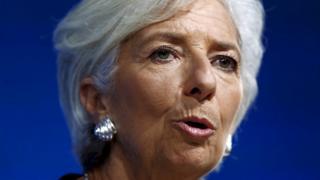 Close up head shot of Christine Lagarde
