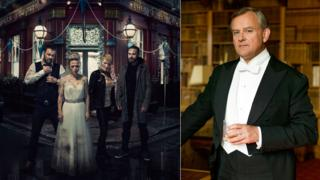 EastEnders cast members Danny Dyer, Kellie Bright, Linda Henry ad Matt Di Angelo in EastEnders and High Bonneville in Downton Abbey