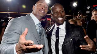 "Dwayne ""The Rock"" Johnson dey with Tyrese Gibson"