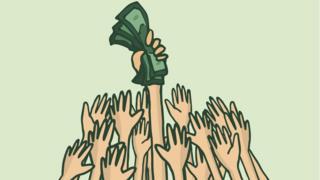 Ilustração com mãos disputando dinheiro